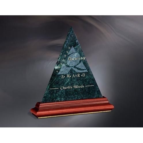 Heritage Peak Green Marble Traingle Award on Wood Base