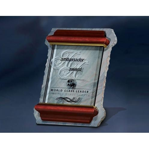 Glass Plaque on Slate Award with Cherry Wood Frame