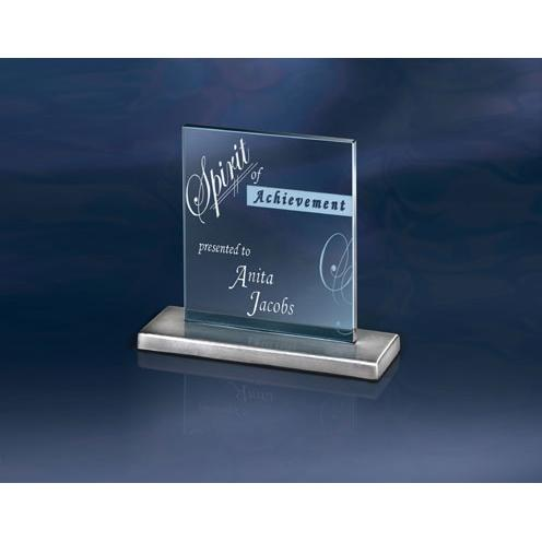 Cerulean Blue Square Jade Glass Award on Stainless Base