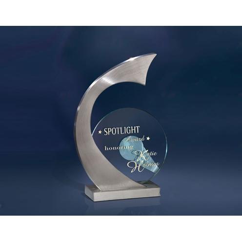 Sway Circle Jade Glass Award & Stainless Arch Metal