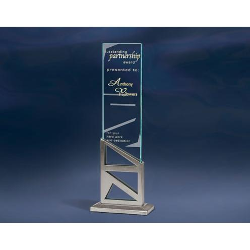 Stages Jade Glass Vertical Plaquewith Stainless Metal Stand