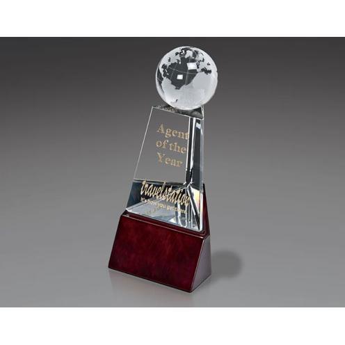 Klassen Clear Crystal Globe Pillar Award on Lusterwood Base