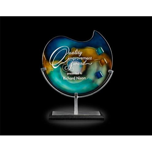 Poseidon Blue Green Art Glass Award on Black Marble Base