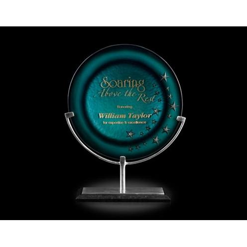 Turquoise Oracle Art Glass Award on Aluminum Stand & Black Marble Base