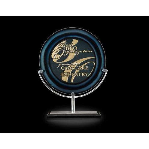 Azure Orbit Blue Art Glass Award on Aluminum Stand & Black Marble Base