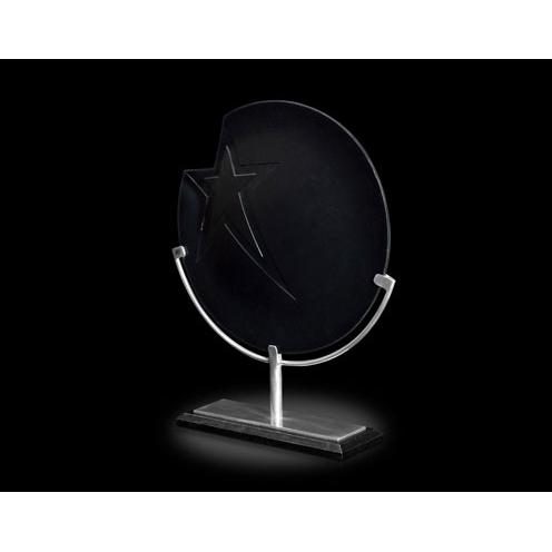 Galactic Black Art Glass Award on Aluminum Stand & Black Marble Base