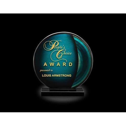 Marine Blue Art Glass Sphere Award on Black Glass Base