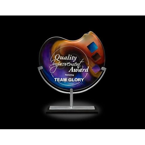 Delphi Multi Colored Art Glass Award on Aluminum Stand & Black Marble Base