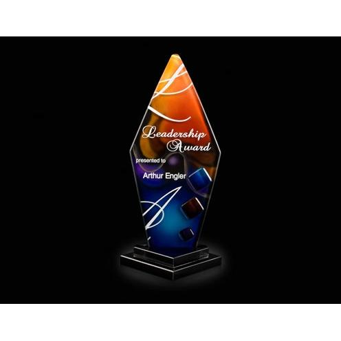 Trilogy Pillar Orange & Blue Art Glass Award on Black Glass Base