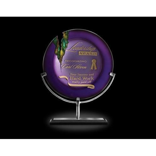 Venus Amethyst Purple Art Glass Award on Aluminum Stand & Black Marble Base