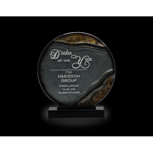 Cirque Gold & Grey Art Glass Circle Awardon Black Base