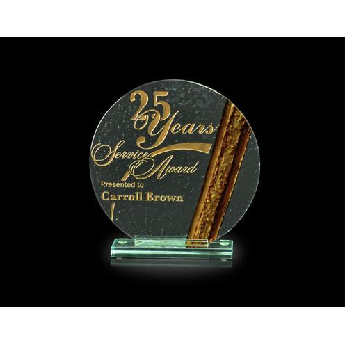Halo Jade Glass Circle Award with Bronze Accent