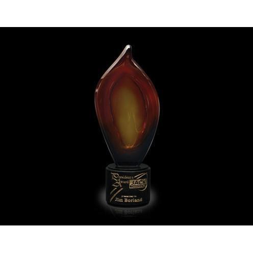 Aurora Flame Art Glass Award on Black Marble Base