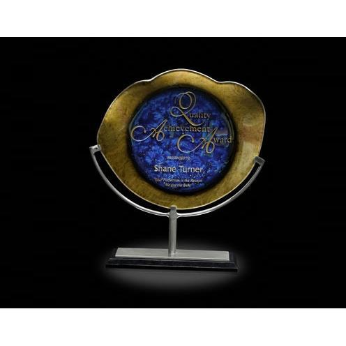 Titan Achievement Gold & Blue Art Glass Award on Aluminum Stand & Black Marble Base