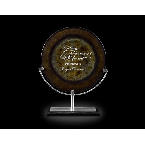 Eclipse Art Glass Award on Aluminum Stand & Black Marble Base