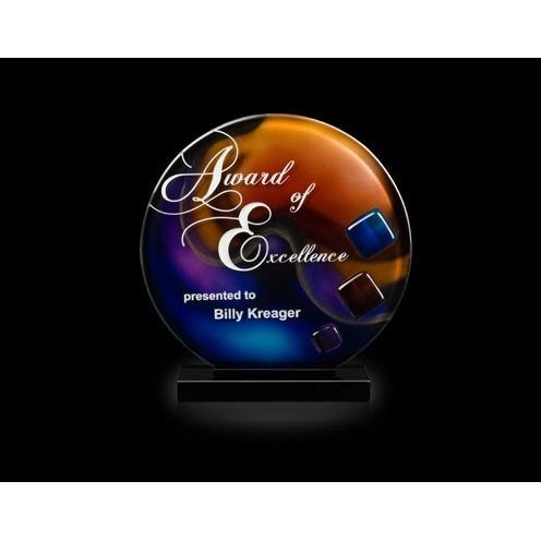 Trilogy Multi Color Art Glass Sphere Award on Black Glass Base