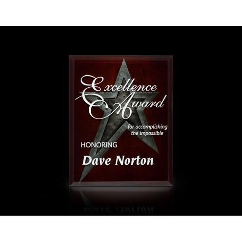 Visions Apex Art Glass Burgundy Award with Platinum Star