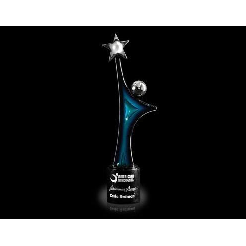 Star Gazer Blue Art Glass & Chrome Award on Black Marble Base