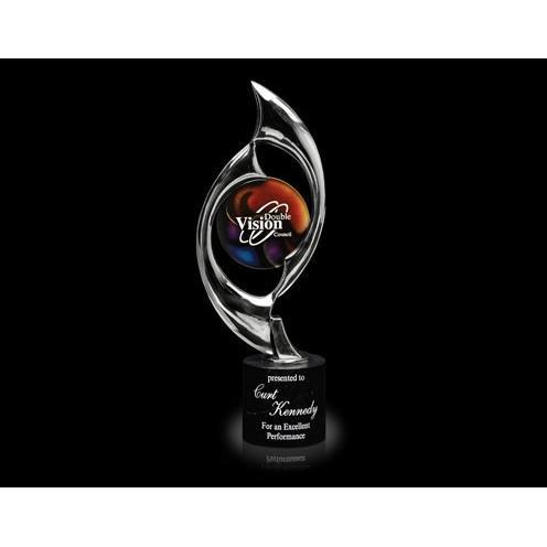 Triumph Chrome & Art Glass Award on Black Marble Base
