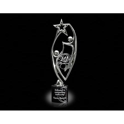 Heavenly Star Chrome Sculpture Award on Black Marble Base