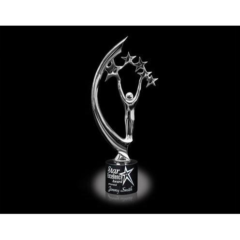 Chrome Multi Star Sculpture Award on Marble Base