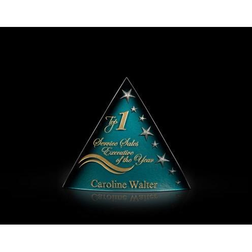 Oracle Blue Art Glass Pyramid Award