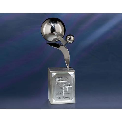 Dexterity Stainless Steel Award on Jade Glass Base