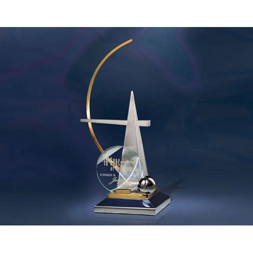 In Sync Metal & Jade Glass Pyramid Sculpture Award