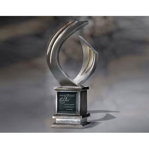 Vector Silver Sculpture Award on Silver Cube Base