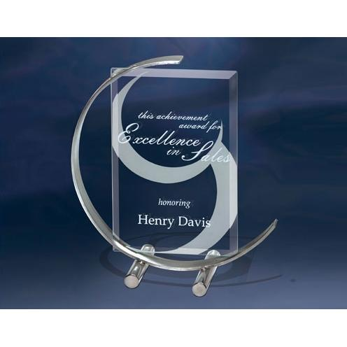 C Note Jade Glass Award on Curved Stainless Stand