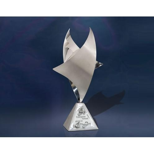 Sterling Zenith Metal Sculpture on Pyramid Base