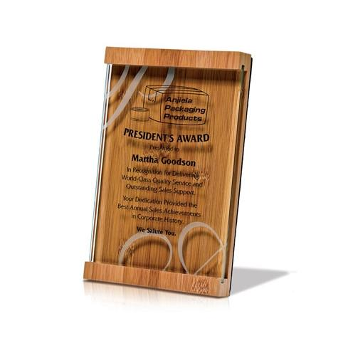 Natural Brown Bamboo Plaque with Jade Glass Overlay