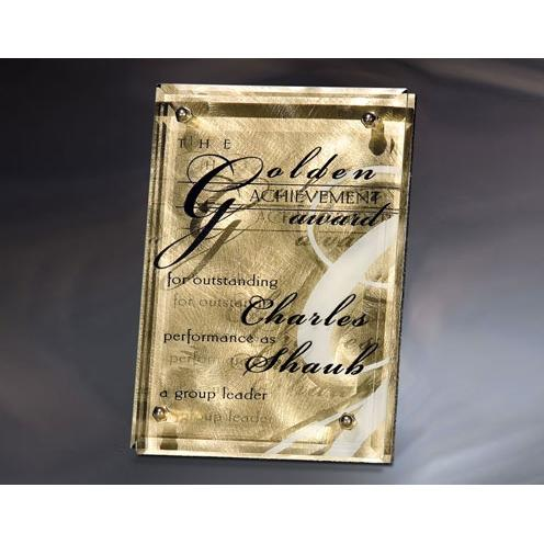 Fascination Gold Metal Plaque with Glass Overlay