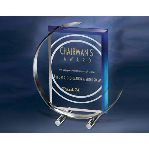 Blue C Note Jade Glass Award on Stainless Crescent Base