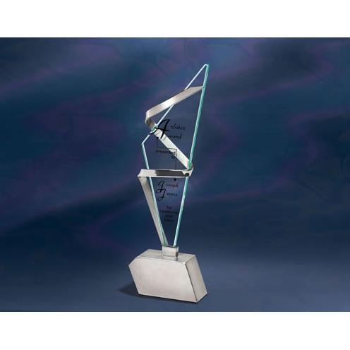 Rhapsody Jade Glass Triangle Award with Stainless Metal Accents
