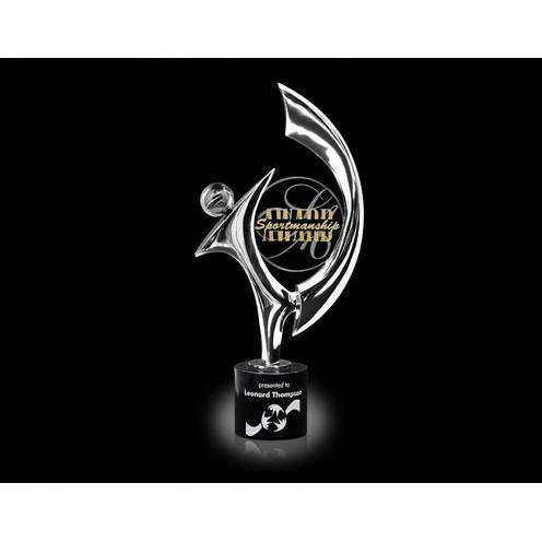 Chrome Award with Jade Glass & Black Marble Base