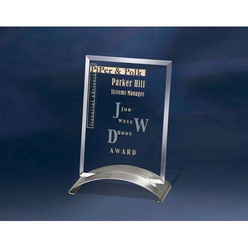 Glide Jade Glass Award on Stainless Base