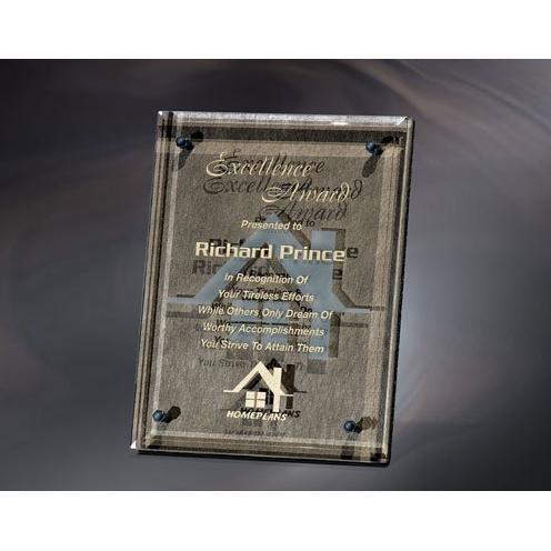Bronze Plaque Award with Jade Glass Overlay