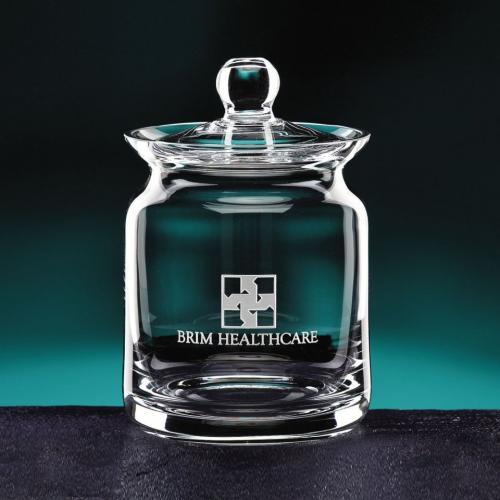Clear Optical Crystal Engravable Biscuit Barrel Snack Jar