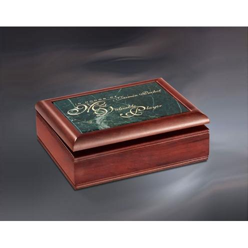 Private Stock Cherry Wood & Green Marble Jewelry Box Award