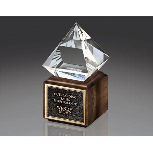 Jewels III Clear Glass Diamond Award on Walnut Base