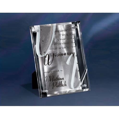 Silver Reflections Stainless Award with Jade Glass Overlay