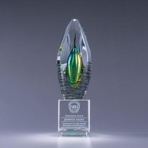 Elation Art Glass Award on Optical Crystal Base