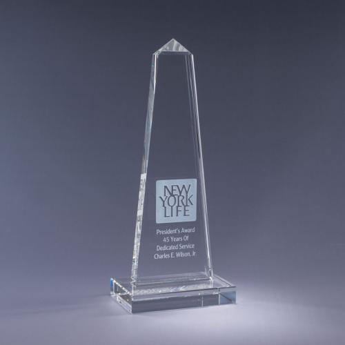 Clear Optical Crystal Obelisk Award