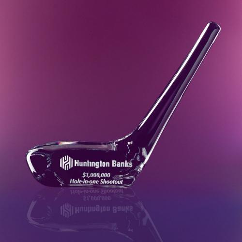 Clear Crystal Driver Head Golf Club Trophy