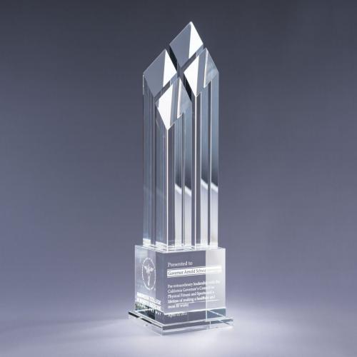 Clear Optical Crystal Rhombus Tower Award