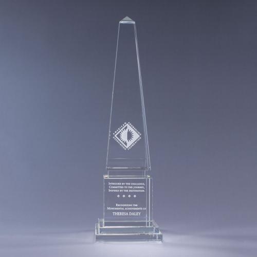 Athena Clear Optical Crystal Obelisk Award