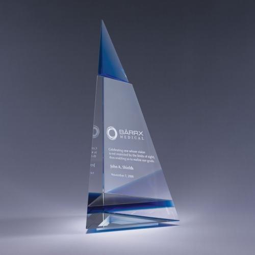 Clear & Blue Optical Crystal Indigo Peak Award