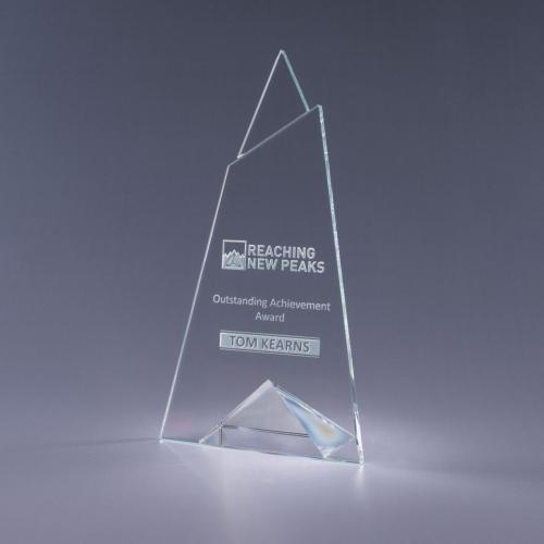 Skyward Clear Optical Crystal Plaque with Clear Triangle Base