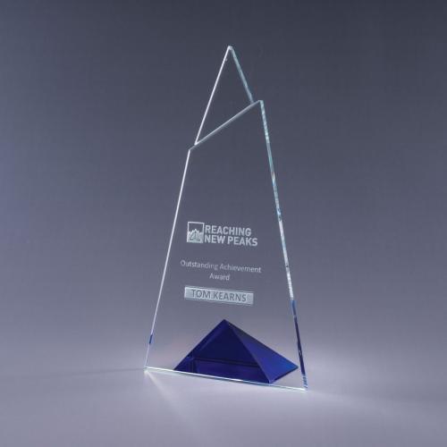 Skyward Clear Optical Crystal Plaque with Blue Triangle Base